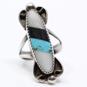Jewelry - NAVAJO Sterling Turquoise Onyx Striped Ring 7.5